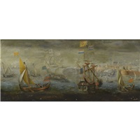a dutch man-of-war and other flagships near a dutch fortified town by hendrik cornelisz vroom