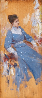 the blue dress by tom roberts
