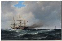 10-gun steam frigate challenging a blockade-runner by carl ludwig bille