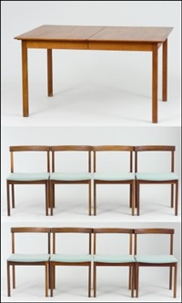 ruokasalinkalusto, 9 osaa (a set of furniture for a dining room, 9 pieces) by jussi peippo