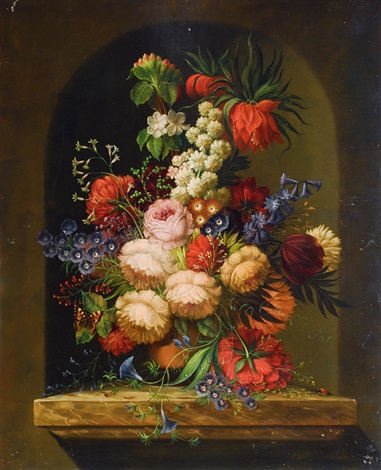 still life with flowers on a marble plinth by erich josef donau dogarth