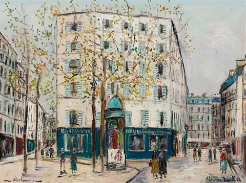 Le bureau de poste de la place des abbesses by maurice utrillo on artnet