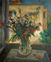 vase of flowers by leo kahn
