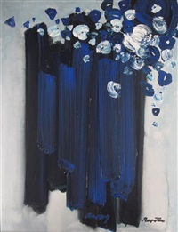 still life of blue flowers by stanislaus ivan rapotec