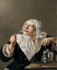 an old woman drinking from a wine glass by petrus staverenus
