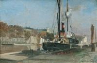 the steamship rügen in the port of wismar by otto heinrich engel
