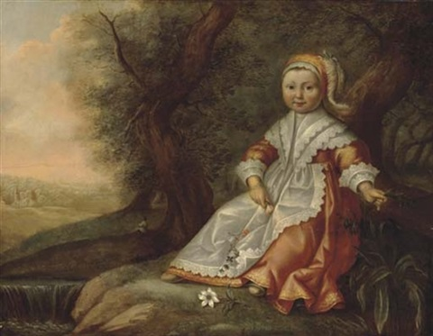 portrait of a young girl seated by a river with flowers in her hands by dirck dircksz van santvoort