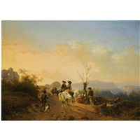 travellers in a summer landscape by andreas schelfhout & joseph jodocus moerenhout
