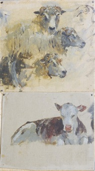 farm animals (study, + 5 others, irgr; 6 works) by theodore robinson