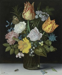 still life of variegated tulips, roses, a hyacinth, a primrose, a violet, forget-me-nots, a columbine, lily of the valley, a cyclamen, a marigold and a carnation all in a glass vase, with a butterfly and housefly by ambrosius bosschaert the elder
