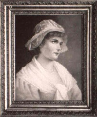 young woman in white cap by g. forster