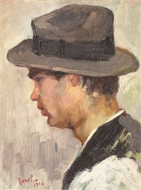 boy with a hat (portrait of painter alexandru moscu's son) by aurel baesu