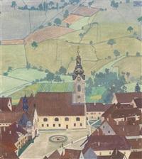 kirchenplatz und viele felder by herbert reyl-hanisch