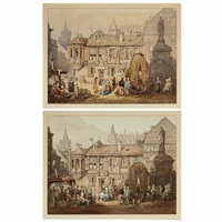 a view of la place de la pucelle, rouen (2 works) by samuel prout