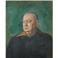 portrait of winston churchill painted from life by bernard hailstone