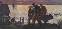 lobstermen on the shore by gifford beal