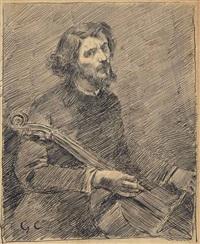 le violoncelliste, autoportrait de l'artiste by gustave courbet
