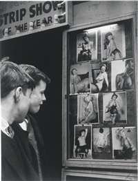 untitled (two boys outside strip show), london 1961; untitled (two young men on bench), london 1961 (2 works) by lutz dille