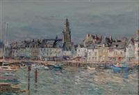 port et église, saint-guénolé de batz-sur-mer by jean rigaud