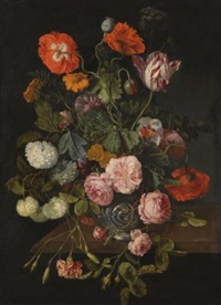 a still life with parrot tulips, poppies, roses, snow balls, and other flowers in a glass vase over a stone ledge by cornelis kick