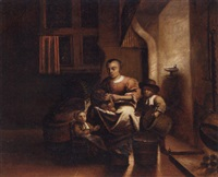 a woman and her children in a kitchen by reynier covyn