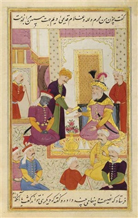 the envoy qanbar aqa before sultan murad turkman by muin musavvir