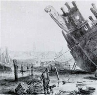 view of liverpool from the fishing port by samuel austin