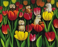 owls in the tulips by ahn yoonmo