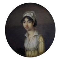 portrait de jeune femme en robe rayée jaune et blanc, sa gorge recouverte d'un fichu by jean baptiste sambat