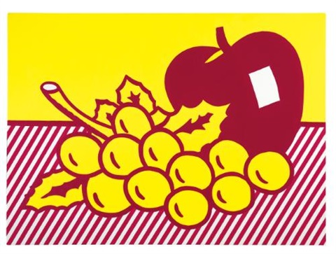 still life apple and grapes by roy lichtenstein