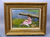 lecture au bord de l'eau by vladimir gusev