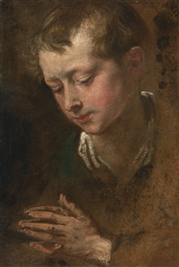 head of a boy with clasped hands, a study for suffer little children to come unto me by sir anthony van dyck