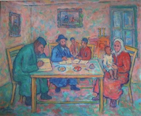 famille juive dans un intérieur by nathan gutman