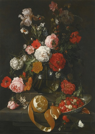a still life of roses poppies lillies and other flowers in a glass vase on a marble shelf by cornelis de heem