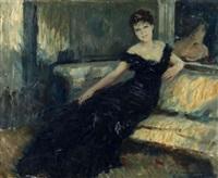 femme en tenue de soirée sur un divan by lucien henri grandgerard