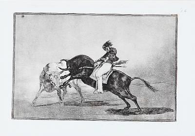 el mismo ceballos montado sobre otro toro by francisco de goya