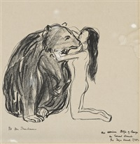 the woman and the bear by edvard munch