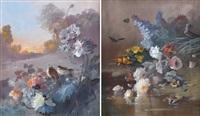 gerbes de fleurs aux oiseaux et aux papillons (pair) by louis léon eugène billotey