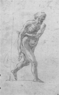 un homme barbu tenant un filet, marchant vers la droite by giovanni alberti