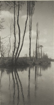 poplars on a french river by frederick henry evans