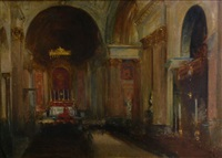 inside st. paul's cathedral by hal (henry william lowe) hurst