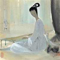 抚琴仕女图 (maiden playing qin) by lin fengmian