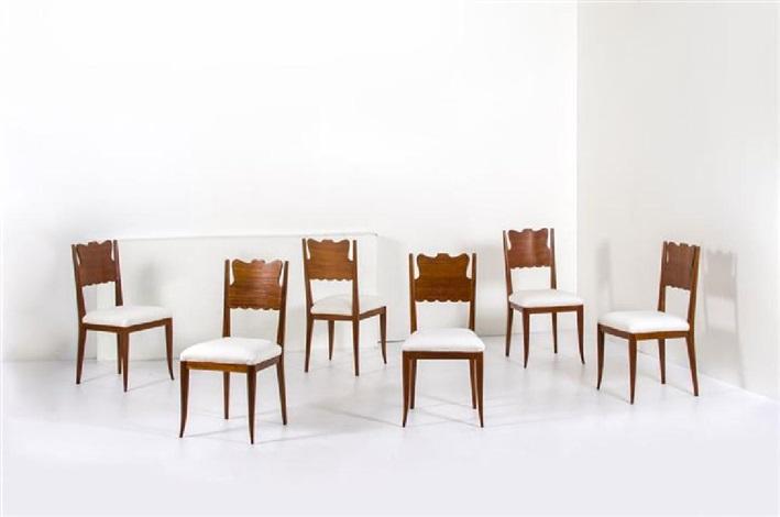 Sei sedie con struttura in legno, seduta imbottita rivestita ...