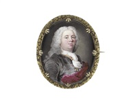 a gentleman, wearing grey coat over gold and crimson embroidered waistcoat, white stock and cravat, his crimson mantle draped about him, his powdered wig falling in curls behind his shoulders by jean adam mathieu