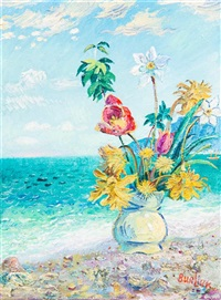 still life - flowers on shore by david davidovich burliuk