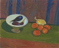 früchtestillleben mit auberginen in schale mit tomaten und zitrone by albert pfister