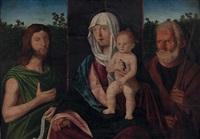 madonna mit kind und vögelchen, flankiert vom hl. johannes dem täufer mit spruchband (ecce agnus dei qui tollis peccata) und dem hl. joseph by giovanni bellini