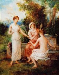 jeunes femmes près d'une fontaine by françois lafon