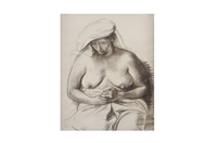 mujer sentada con turbante by francisco zúñiga
