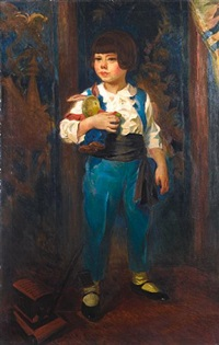 portrait of a young boy with his favorite toys by nikolai vladimirovich remizov